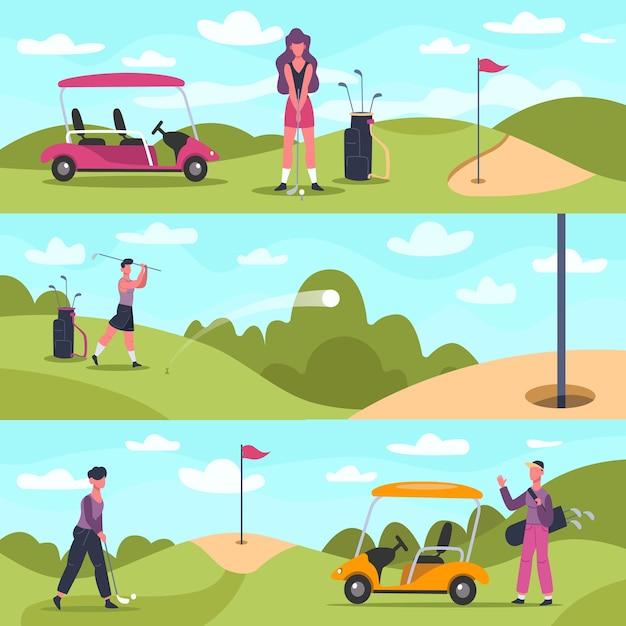 Golf banners. mannelijke en vrouwelijke golfkarakters die buitensporten spelen, golfmensen jagen en slaan bal achtergrondillustratie. hobby golfen, actief vrouwelijk schot buiten Premium Vector