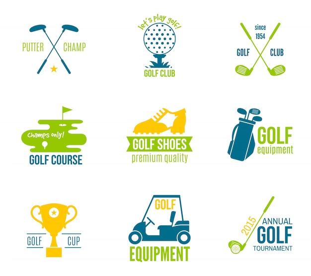 Golf club kampioenschap en apparatuur label gekleurde set geïsoleerde vector illustratie Gratis Vector