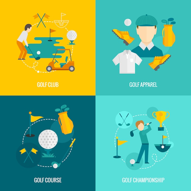 Golf elementen plat Premium Vector