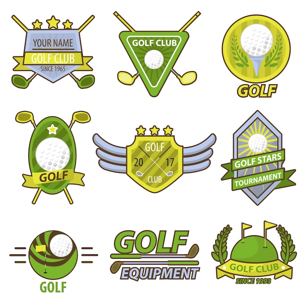 Golf game club toernooi emblemen vector banner Premium Vector