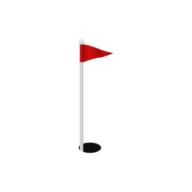 Golf gat. rood vinkje marker Premium Vector