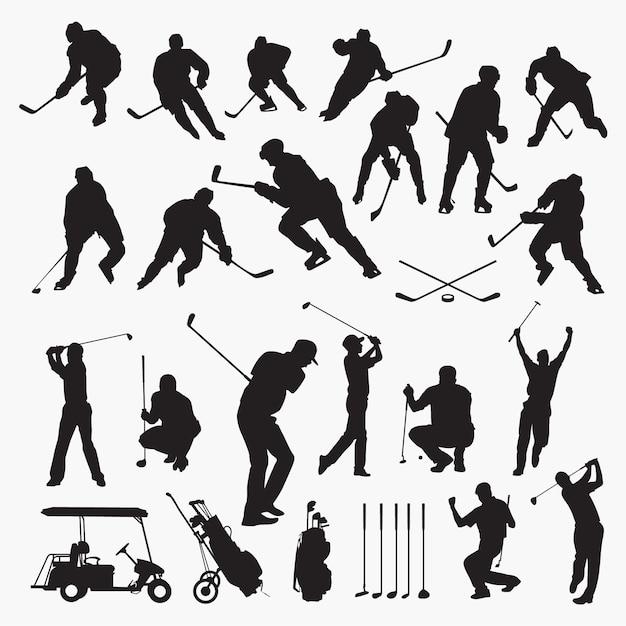 Golf hockey silhouetten Premium Vector