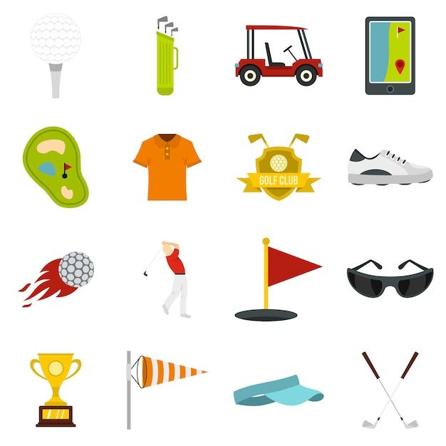 Golf items pictogrammen instellen in vlakke stijl Premium Vector