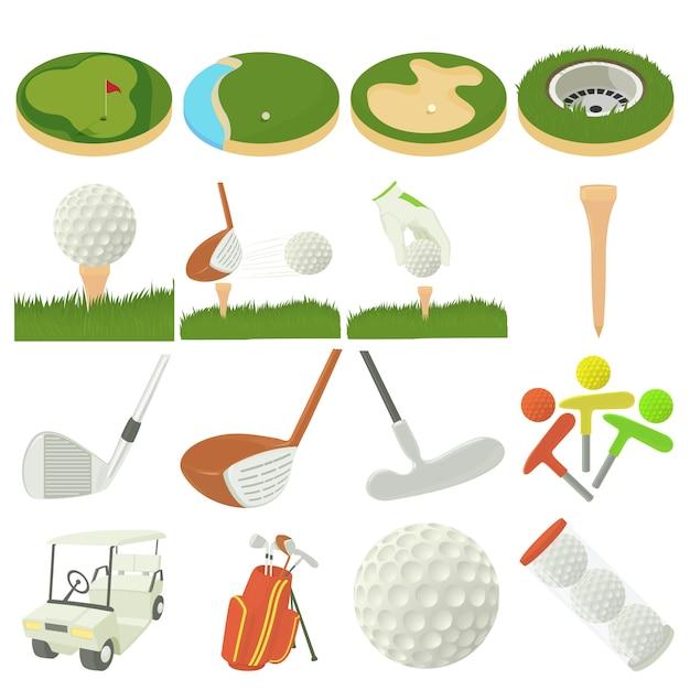 Golf items pictogrammen instellen Premium Vector