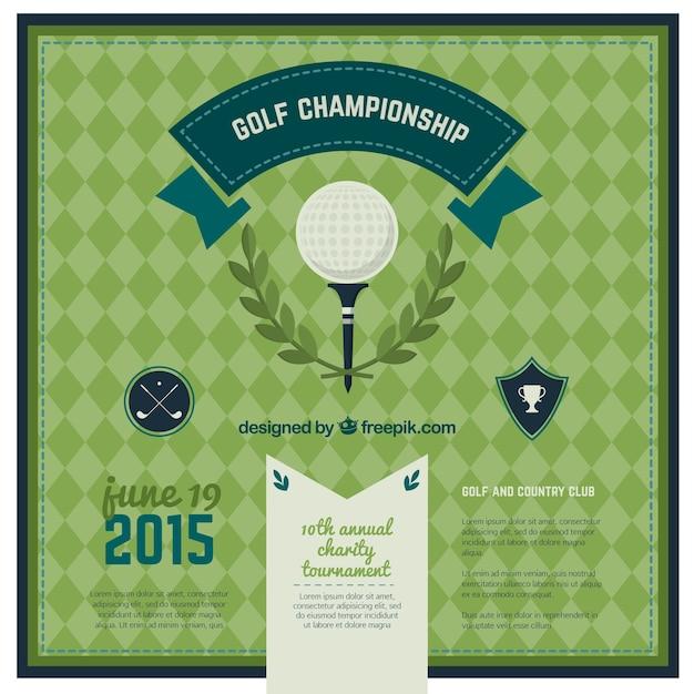 Golf kampioenschap poster Gratis Vector