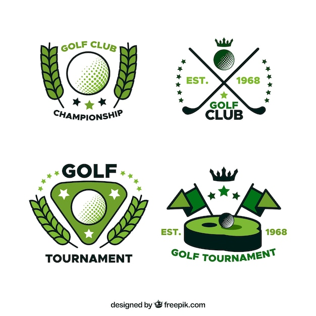 Golf labels collectie in vlakke stijl Gratis Vector