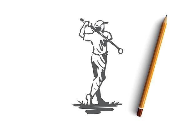 Golf, man, bal, spel, sport concept. hand getekende man golfen buiten concept schets. illustratie. Premium Vector