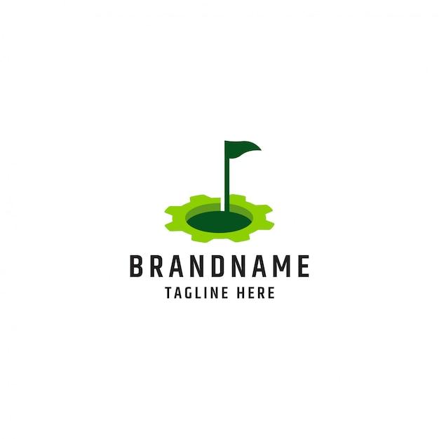 Golf met versnelling logo ontwerp sjabloon premium vector Premium Vector