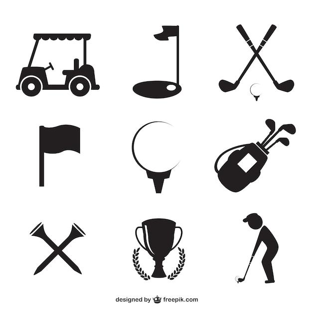 Golf pictogrammen instellen Gratis Vector