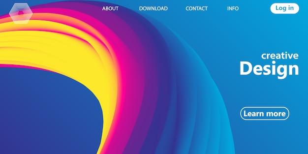 Golf. regenboog achtergrond. vloeiende vormen. golfpatroon. zomer poster. kleurrijk verloop. stroomvorm. abstracte dekking. regenboog kleur. illustratie. vloeistofstroom. Premium Vector