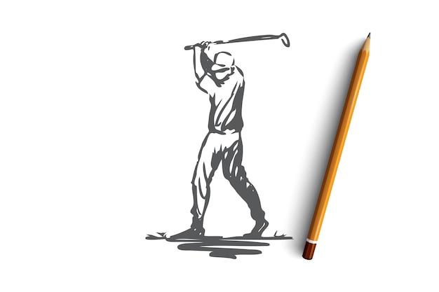 Golf, spel, opleiding, sport, golfconcept. hand getekende golfspeler in actie concept schets. illustratie. Premium Vector
