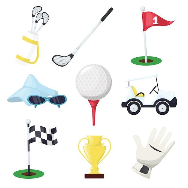 Golf sportuitrusting club stok, bal en gat op tee of wagen auto op groene koers voor kampioenschap of toernooi. golfstick, bal, handschoen, vlag, auto en tas. Premium Vector