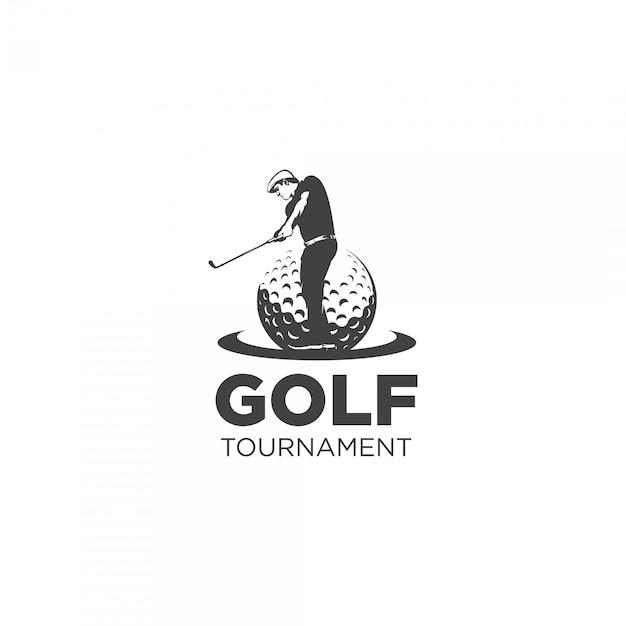 Golf toernooi silhouet logo Premium Vector