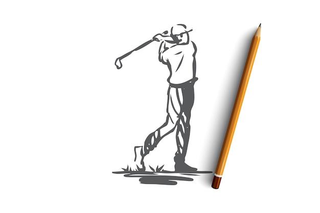 Golf, toernooi, spel, sport, golfer concept. hand getekende speler op golftoernooi concept schets. illustratie. Premium Vector