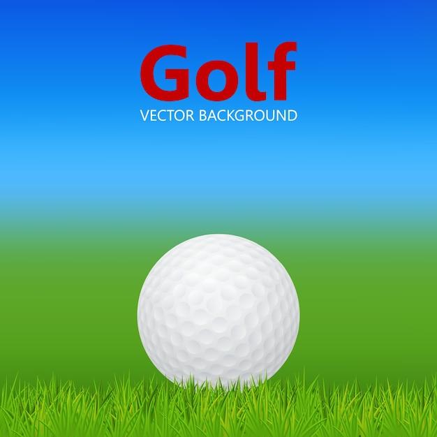 Golfachtergrond - 3d-realistische golfbal op gras. Premium Vector