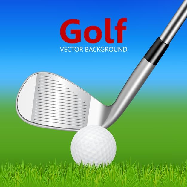 Golfachtergrond - 3d realistische golfclub en bal op gras. Premium Vector