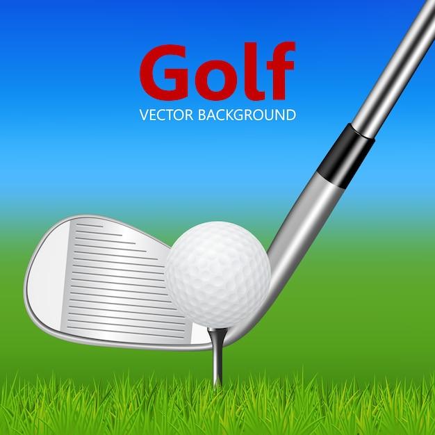 Golfachtergrond - golfclub en bal op tee Premium Vector