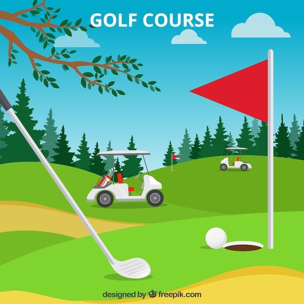 Golfbaanachtergrond in vlakke stijl Gratis Vector
