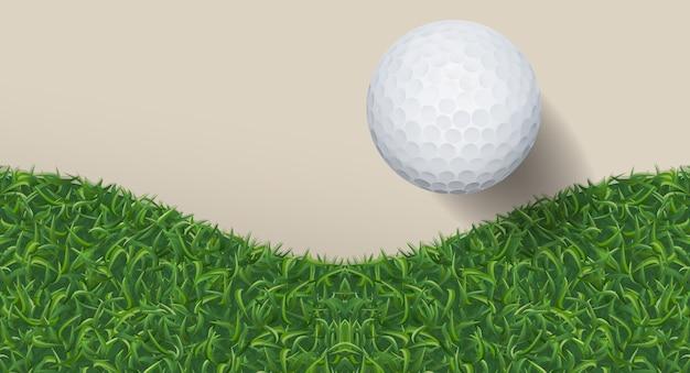 Golfbal en groen gras. Premium Vector