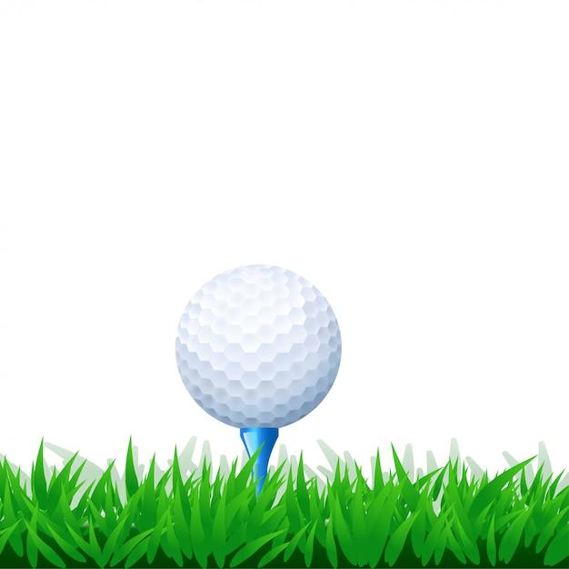 Golfbal in gras Premium Vector