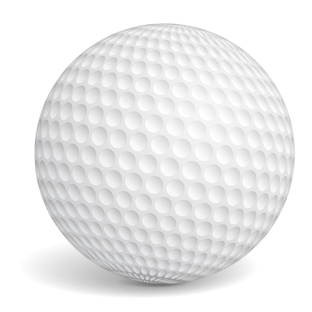 Golfbal op witte achtergrond Premium Vector