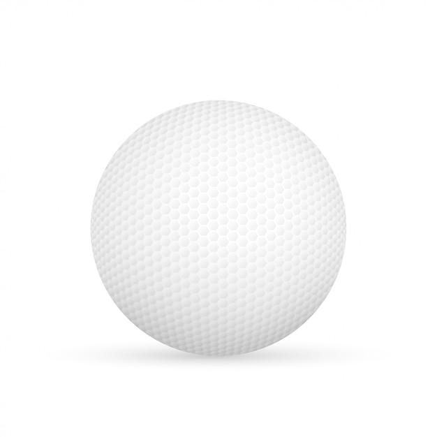 Golfbal op witte vectorillustratie wordt geïsoleerd die. Premium Vector