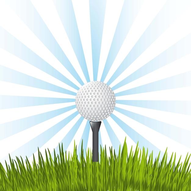 Golfbal over blauwe achtergrond vectorillustratie Premium Vector