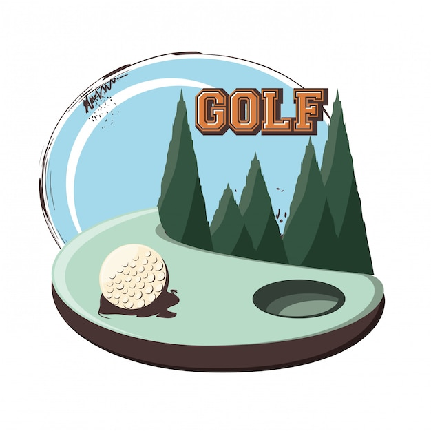 Golfclub retro banner met bal Premium Vector