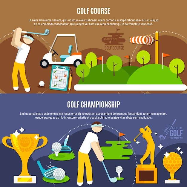 Golfcompetitie horizontale banners Gratis Vector