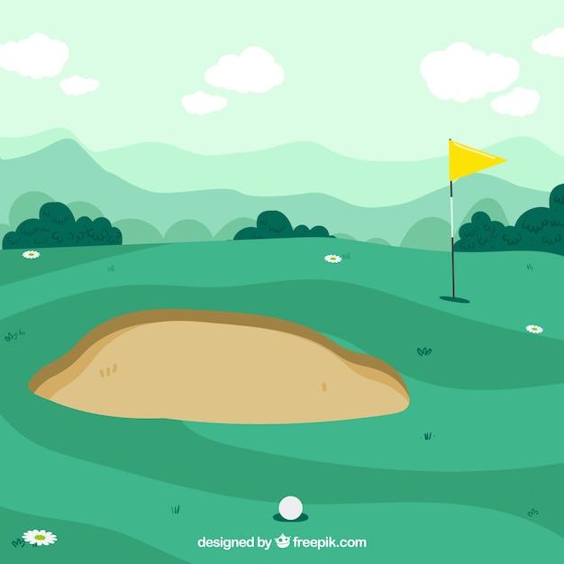 Golfcursus achtergrond in de hand getrokken stijl Gratis Vector