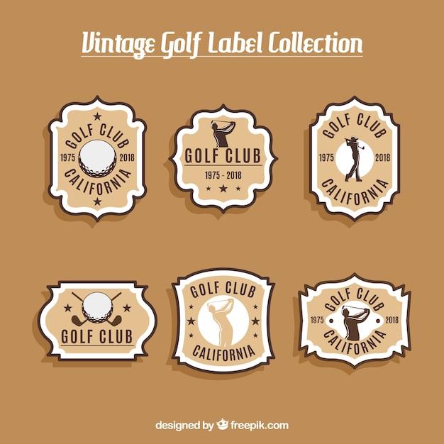 Golfetiketteninzameling in uitstekende stijl Gratis Vector