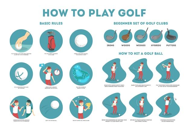 Golfgids voor beginners spelen. basisregels en set golfclub. man speler op het veld met bal. golfles. illustratie Premium Vector