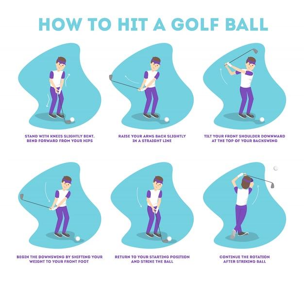 Golfgids voor beginners spelen. basisregels. man speler op het veld met bal. golfles. illustratie Premium Vector