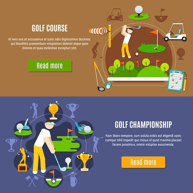 Golfkampioenschap en baanbanners Gratis Vector
