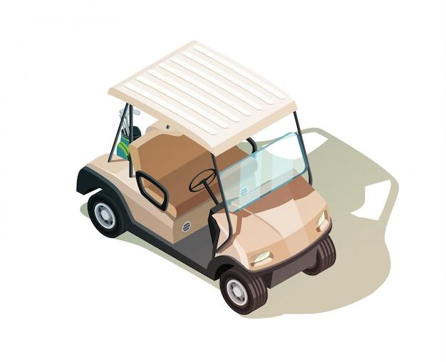 Golfkar isometrische samenstelling Gratis Vector