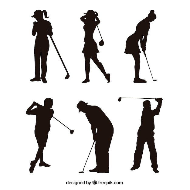 Golfschommelingsinzameling met silhouet Gratis Vector