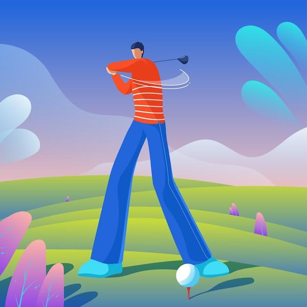 Golfspeler die de bal raakt Premium Vector