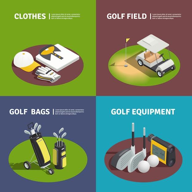 Golfspeler kleding golftassen winkelwagen op veld- en golfuitrusting vierkante composities Gratis Vector