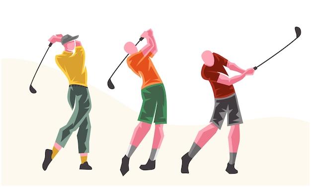 Golfspelers in verschillende poses. schaalbare en bewerkbare illustratie Premium Vector
