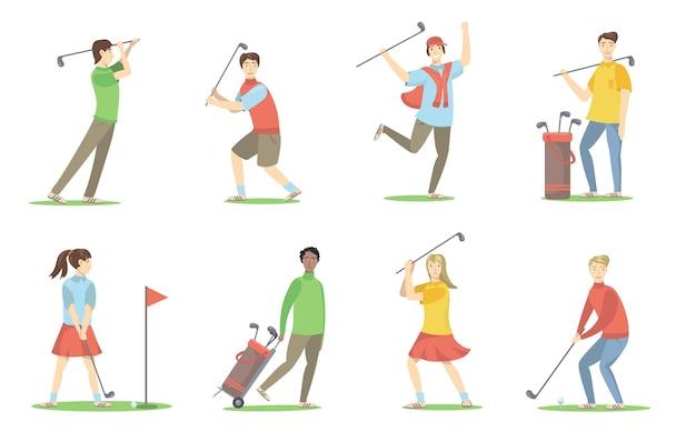 Golfspelers ingesteld. cartoon mensen met brassies golfen op gazon, plezier hebben, genieten van activiteit. vlakke afbeelding Gratis Vector