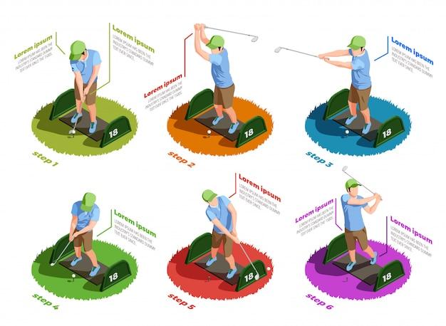 Golfspelers isometrische geïsoleerde pictogrammen Gratis Vector