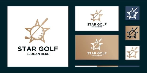 Golfsterbal en sportlogo Premium Vector