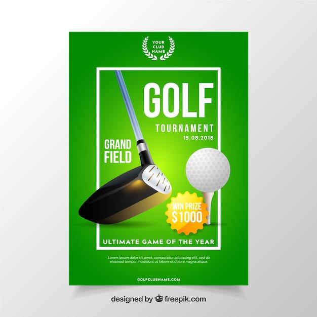 Golftoernooi-flyer in realistische stijl Gratis Vector