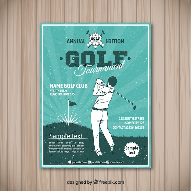 Golftoernooi flyer in vintage stijl Gratis Vector