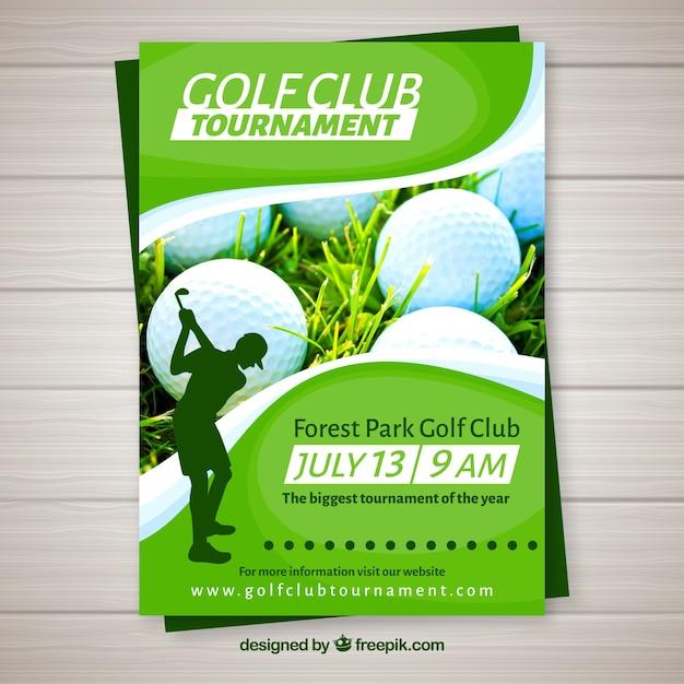 Golftoernooi-flyer in vlakke stijl Gratis Vector