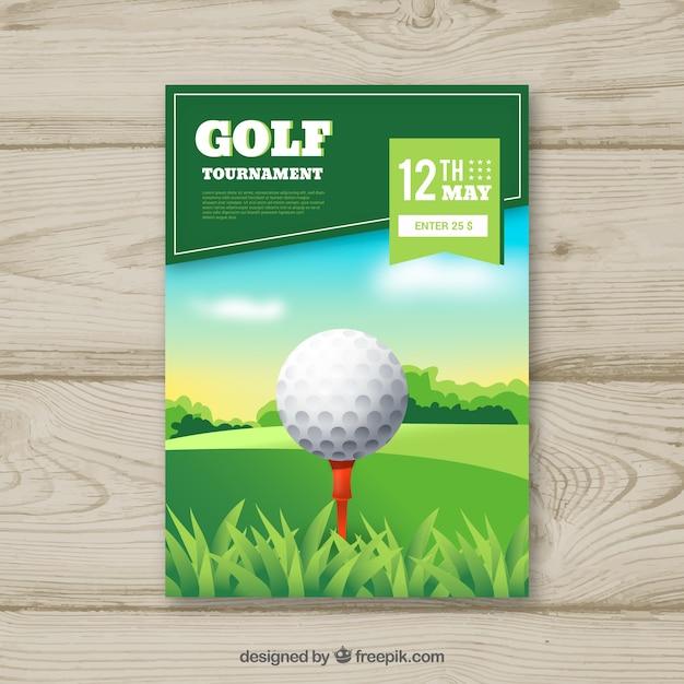 Golftoernooi-flyer met bal Gratis Vector