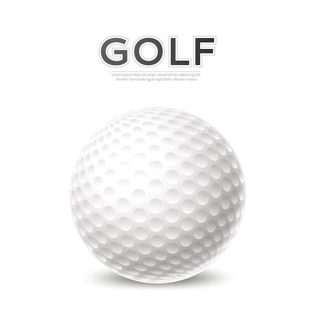 Golftoernooi poster 3d golfbal Premium Vector