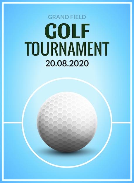 Golftoernooi poster sjabloon flyer. golfbal op groen gras voor de concurrentie. sportclub ontwerp Premium Vector