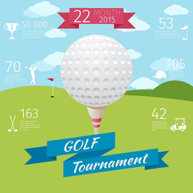 Golftoernooi poster Gratis Vector