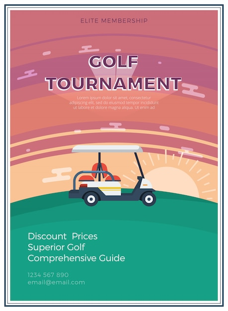 Golftoernooien vlakke poster Gratis Vector
